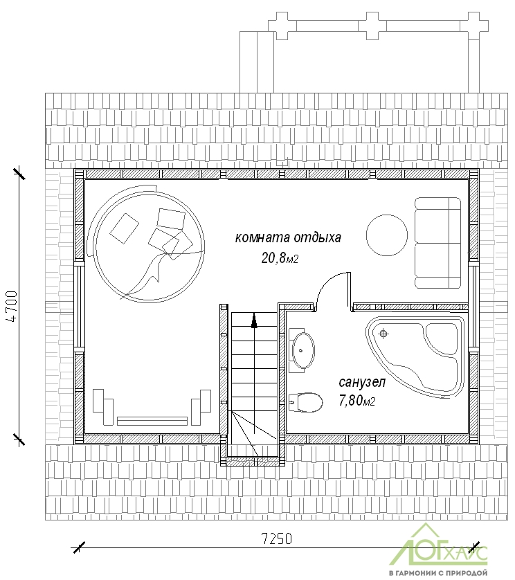 Планировка дома из бревен №89 (2й этаж)