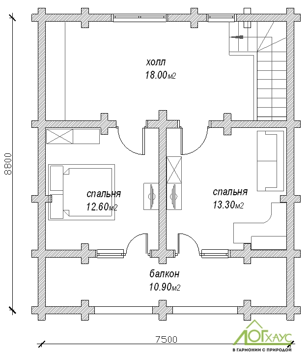 Планировка дома из бревна по проекту 132 (2й этаж)