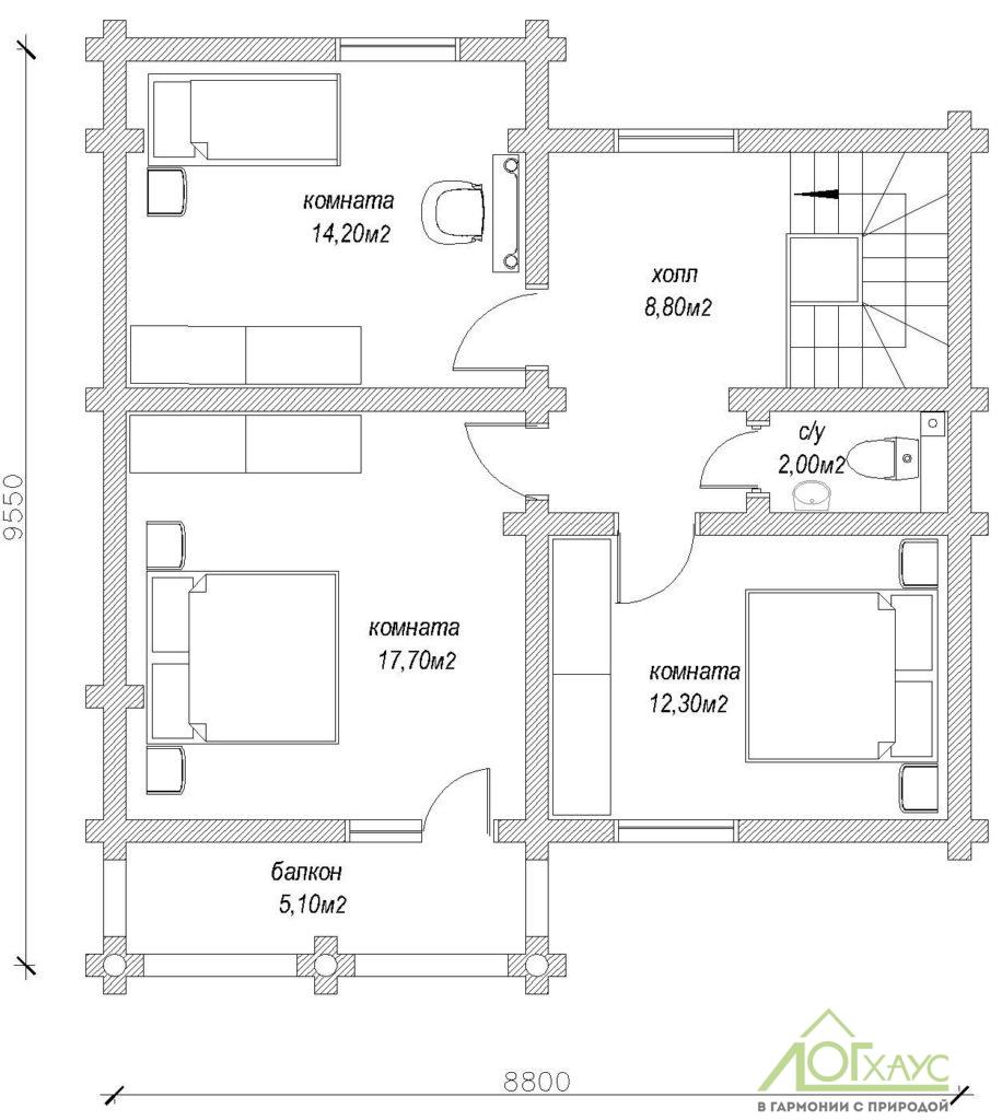 Планировка дома из ОЦБ по проекту 147 (2й этаж)