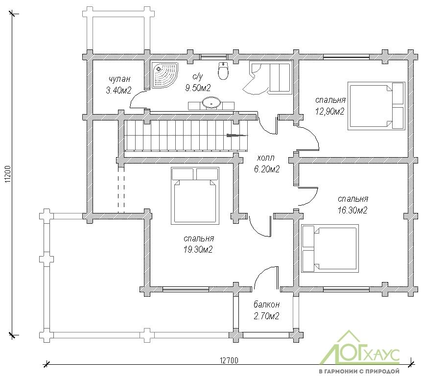 Планировка дома из бревна по проекту №197 (2й этаж)