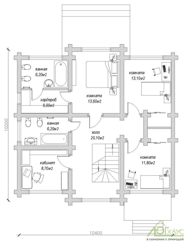 Планировка дома из бревна по проекту 197 (2й этаж)