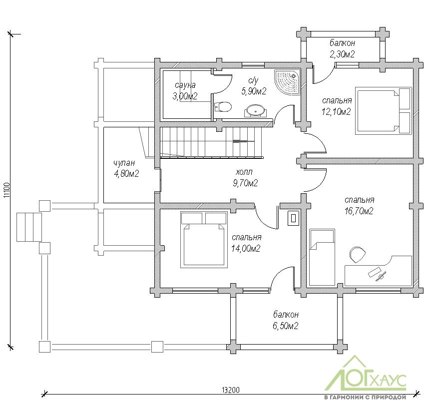 Планировка дома из бревна по проекту 201 (2 этаж)