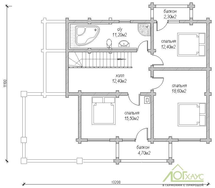 Планировка дома из бревна по проекту 217 (2й этаж)