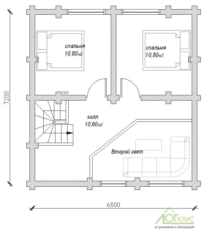 Планировка дома из бревна по проекту 101 (2й этаж)