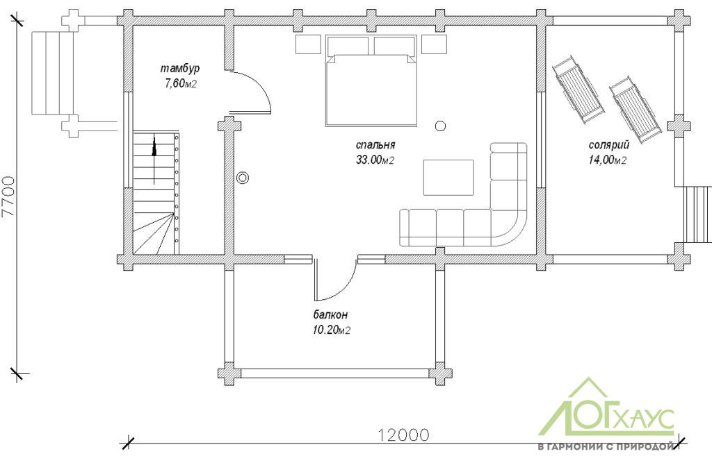 Планировка дома-бани из бревна по проекту 119 (2й этаж)