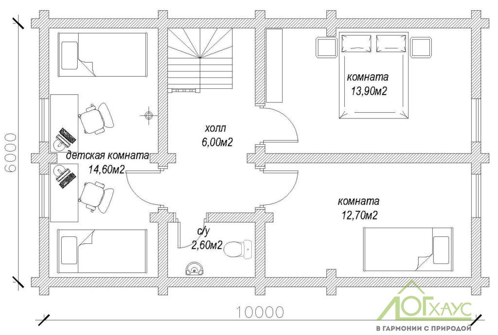 Планировка дома-бани из бревна по проекту 123 (2й этаж)