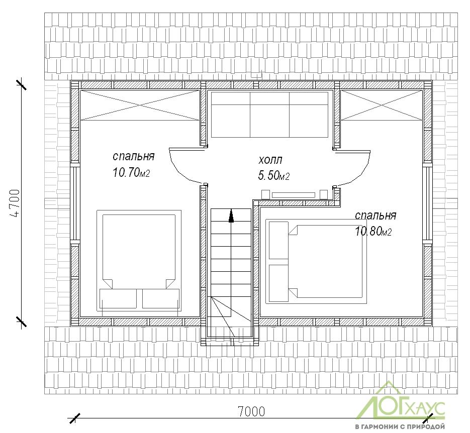 Планировка дома из бревна по проекту 76 (2й этаж)