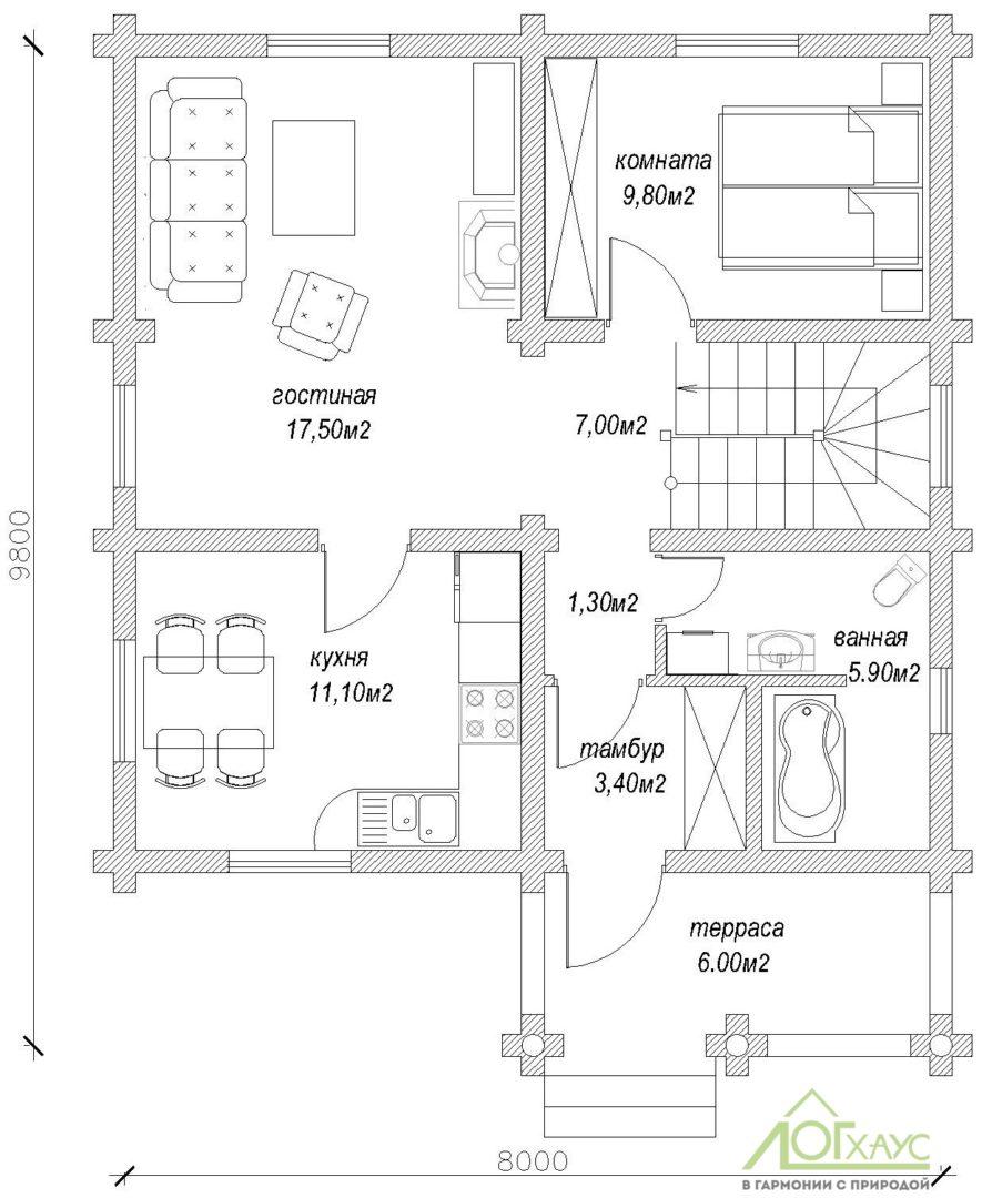 Планировка дома из бревна по проекту 135 (1й этаж)