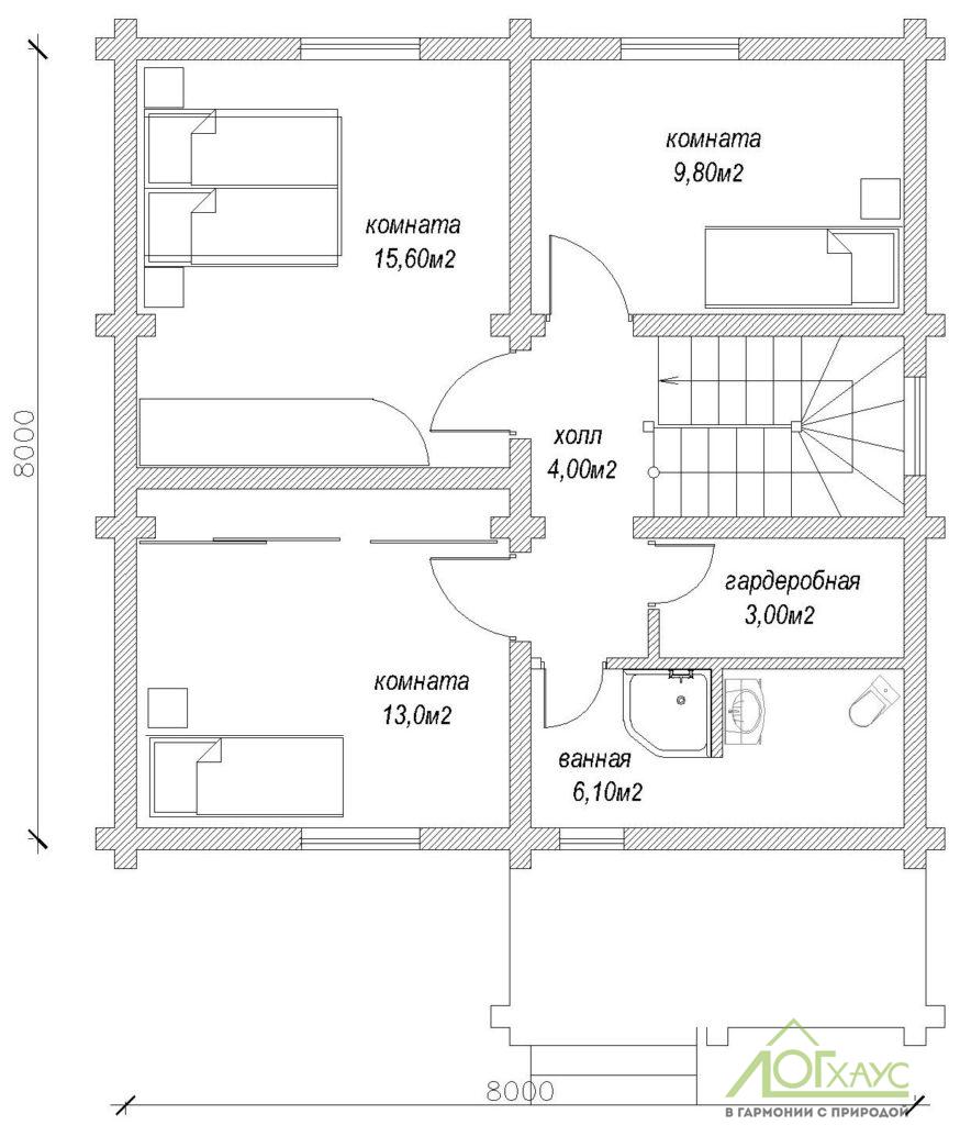 Планировка дома из бревна по проекту 135 (2й этаж)