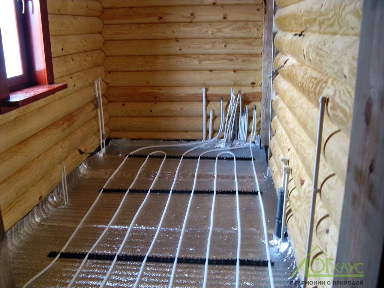 Монтаж отопления и теплого пола в бревенчатом доме