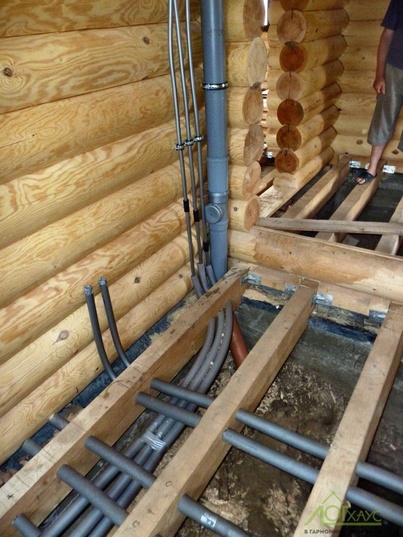 Инженерия в деревянном доме из бревна