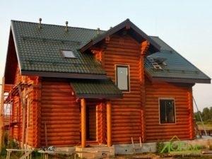 Дом из оцилиндрованного бревна по проекту Заказчика