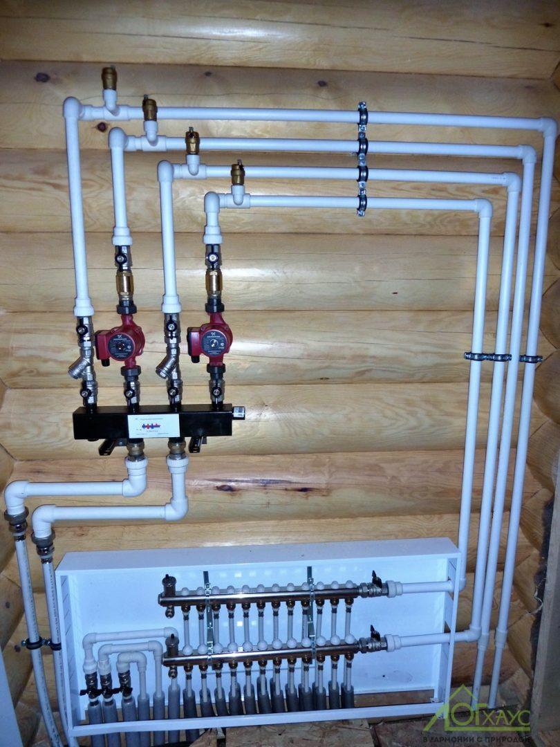 Система отопления дома из бревна