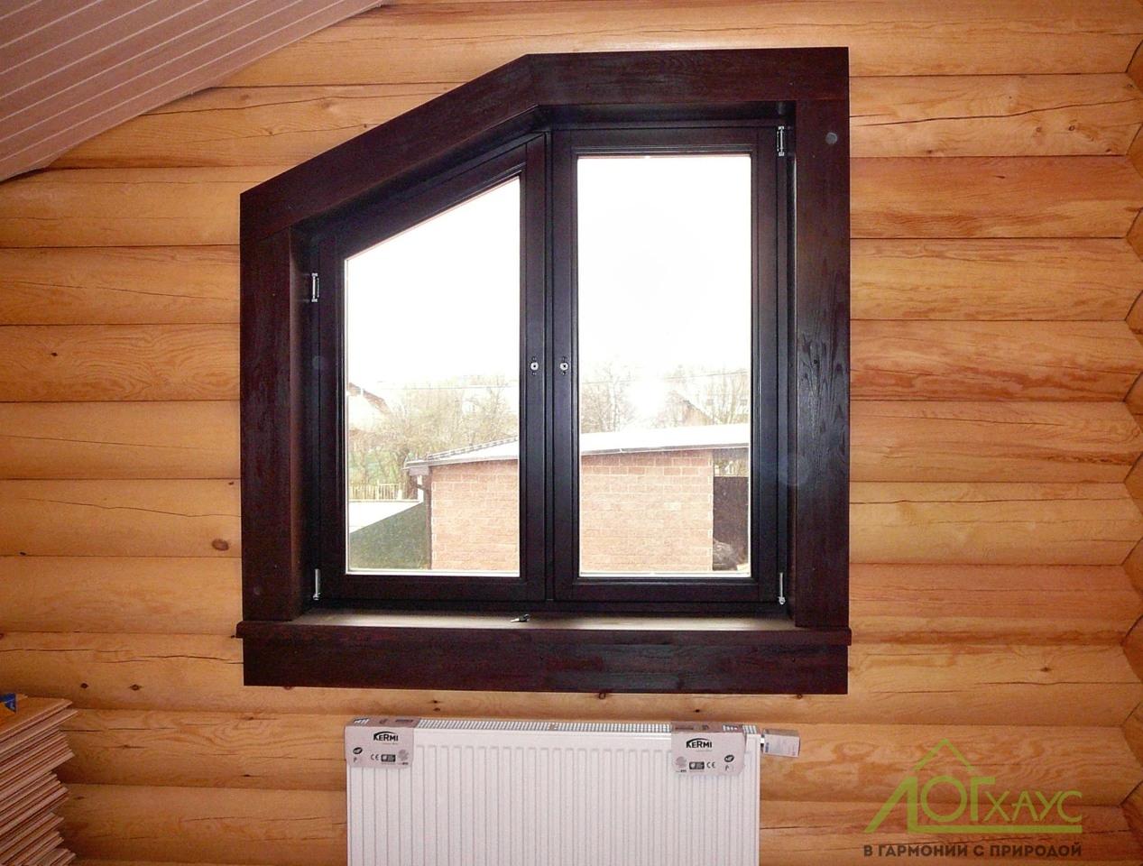 Деревянные окна в доме из бруса