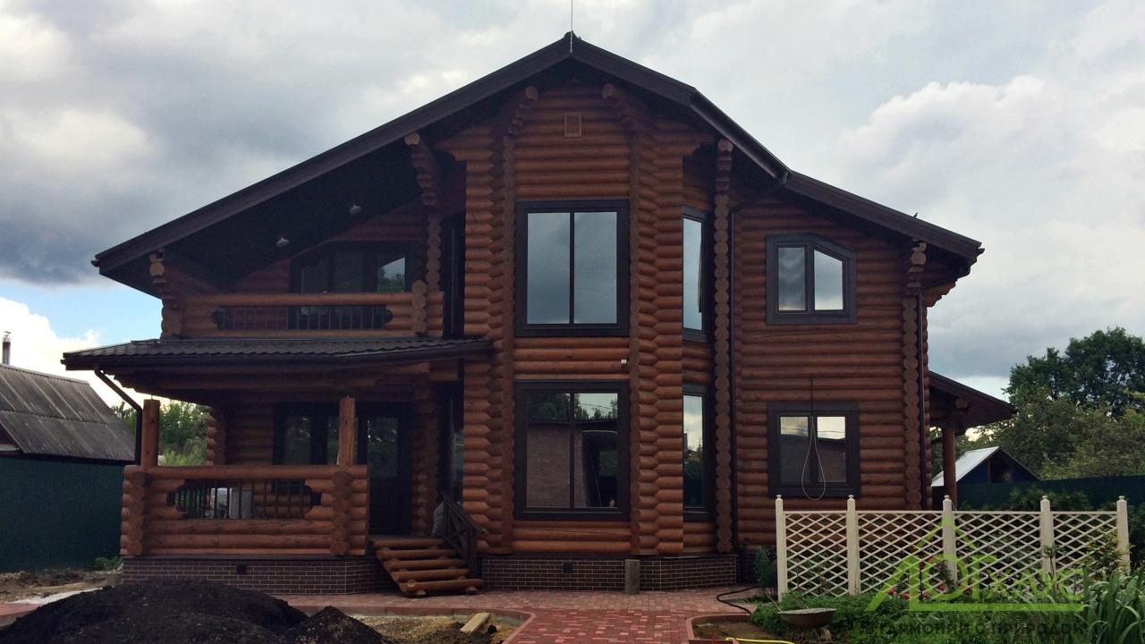 Реально построенный дом из бревна по проекту 285