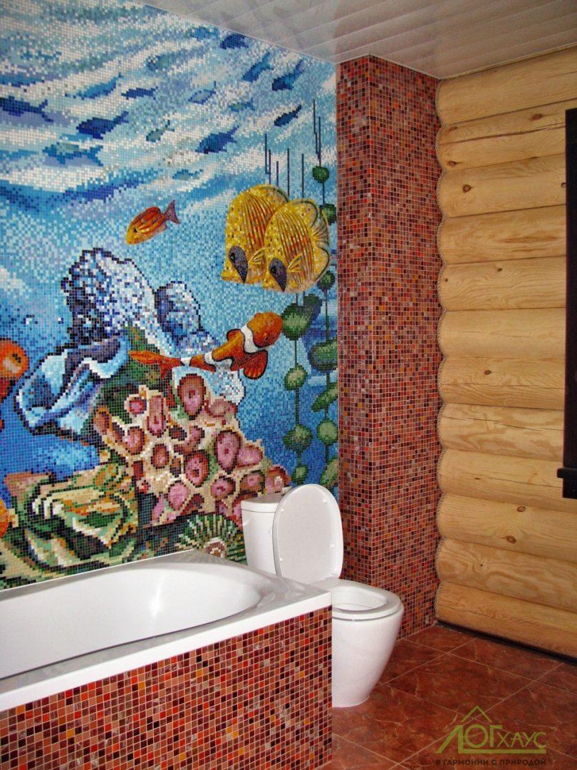 Отделка ванной комнаты в доме из бревна