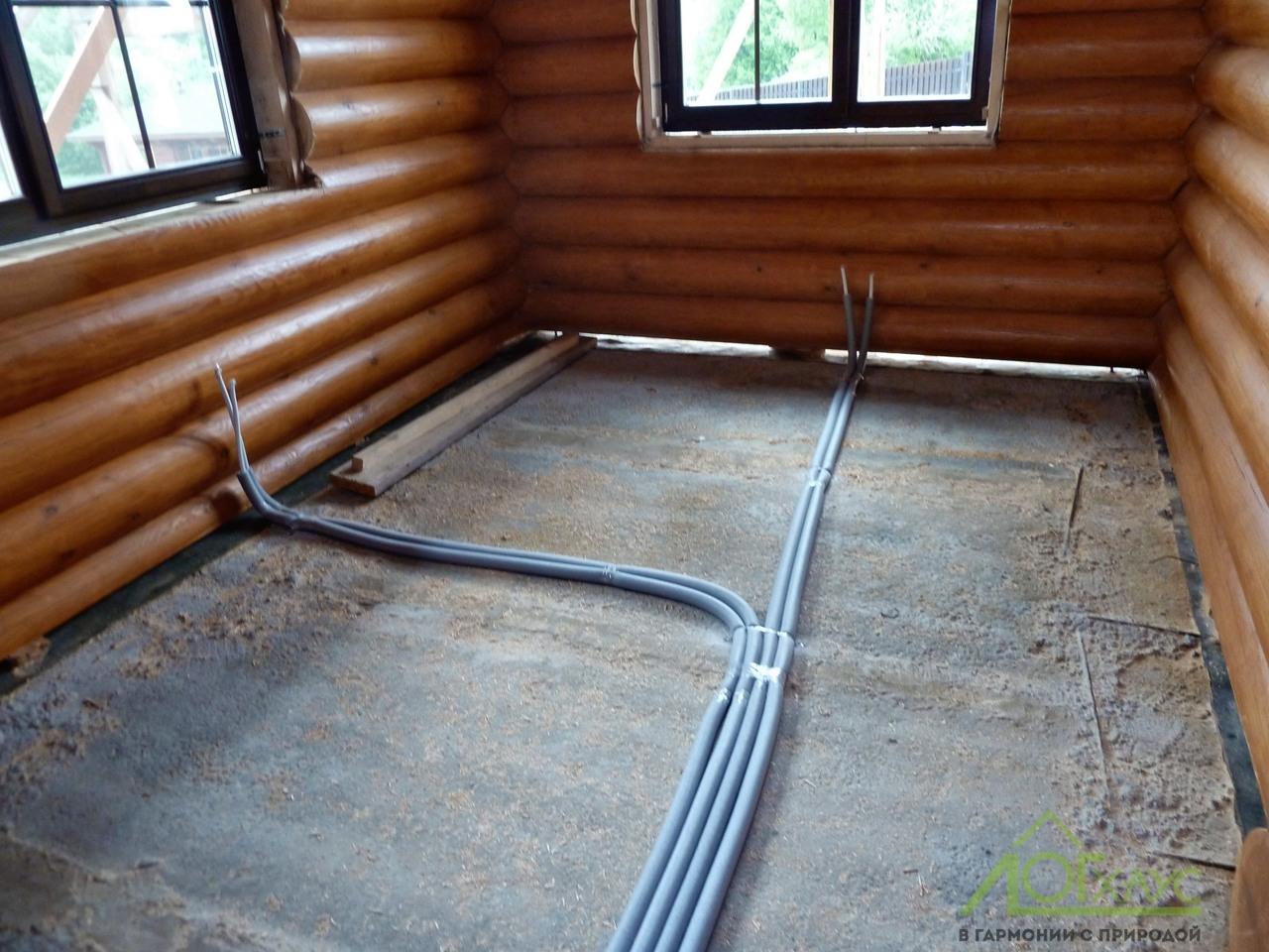 Разводка труб отопления в бревенчатом доме