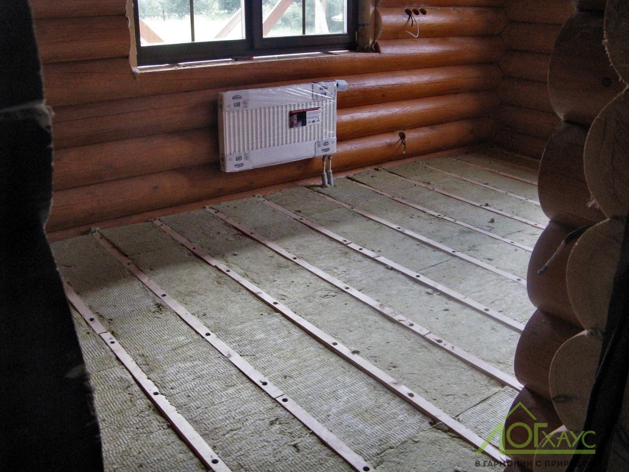 Монтаж отопления доме из бревна