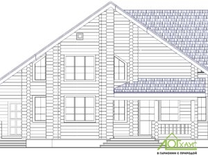 Эскиз дома из бревна по проекту 233