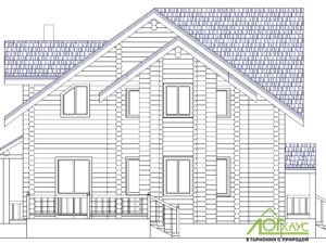 Эскиз дома из бревна проекта №239