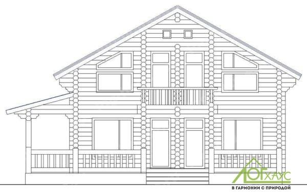Эскиз дома из бревен по проекту №255