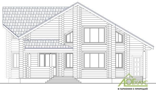 Эскиз дома из бревна по проекту 270