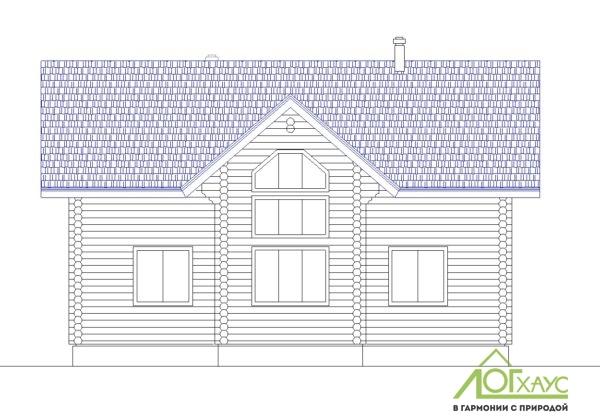Эскиз дома из бревна по проекту №221