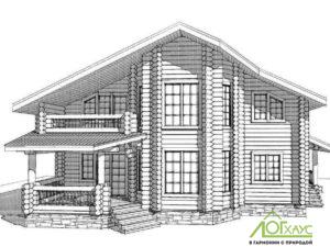 Эскизная визуализация проекта дома из бревна 285 проекта