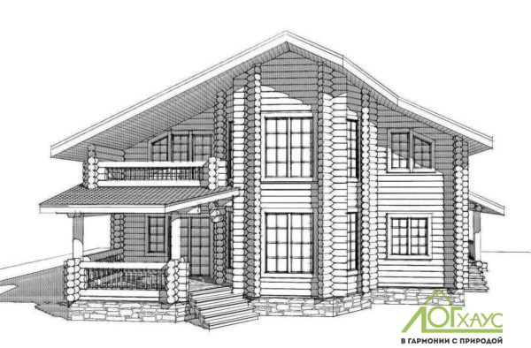 Эскизная визуализация проекта дома из бревна №285