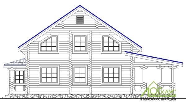 Эскиз дома из бревна по проекту №225