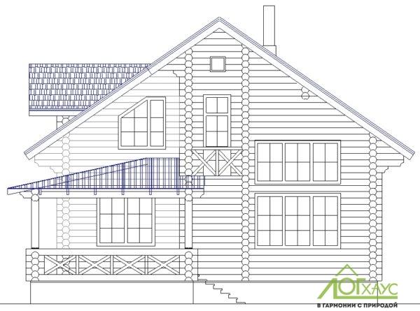 Эскиз дома из бревна по проекту 230