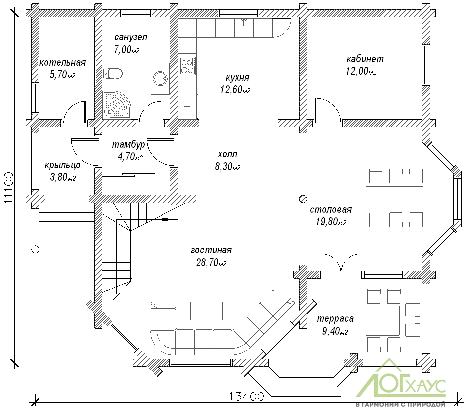 Планировка дома из бревна по проекту 233 (1й этаж)