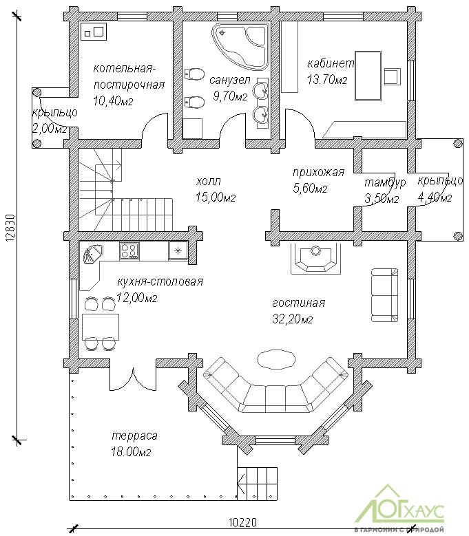 Планировка дома из ОЦБ №243 (1й этаж)