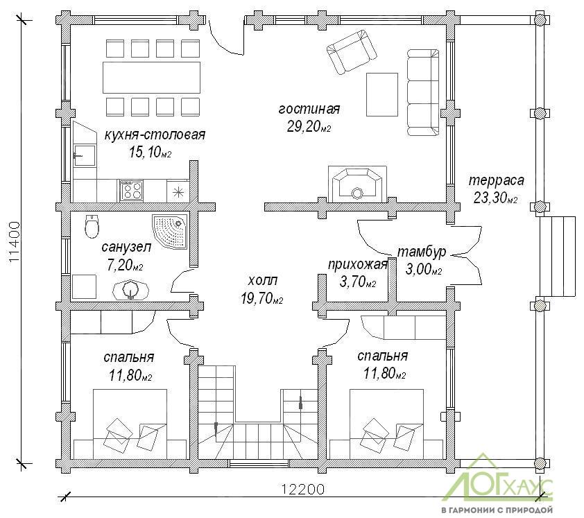 Планировка дома из бревна №255 (1й этаж)