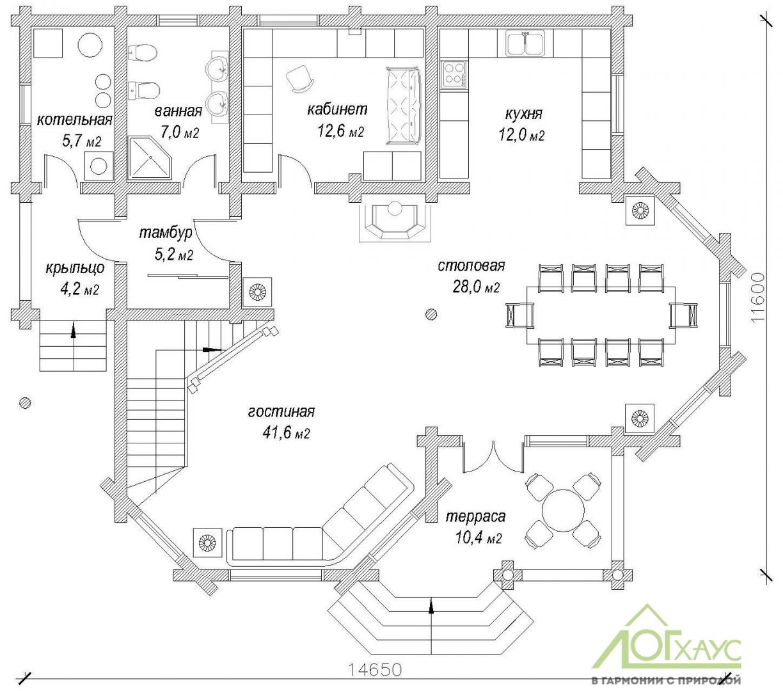 План первого этажа дома из бревна №258