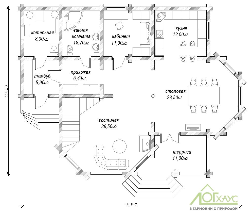 Планировка дома из бревна №263 (1й этаж)
