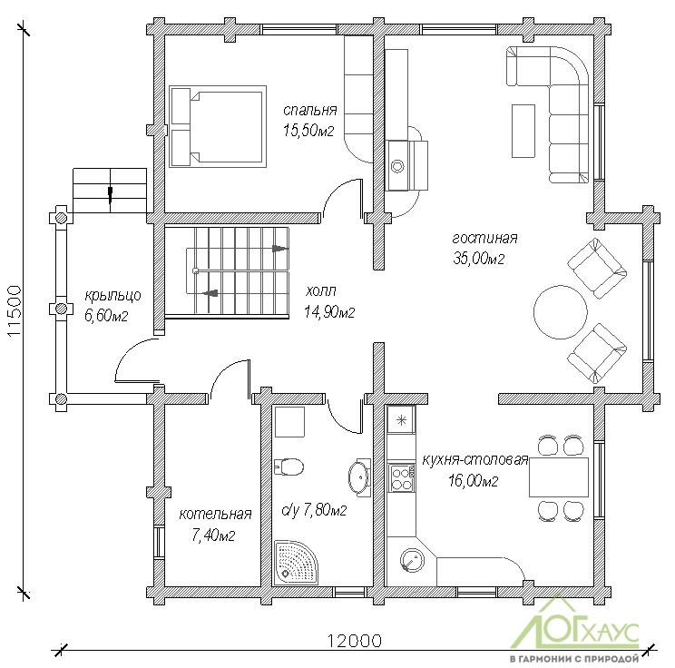 Планировка дома из бревна по проекту №221 (1й этаж)