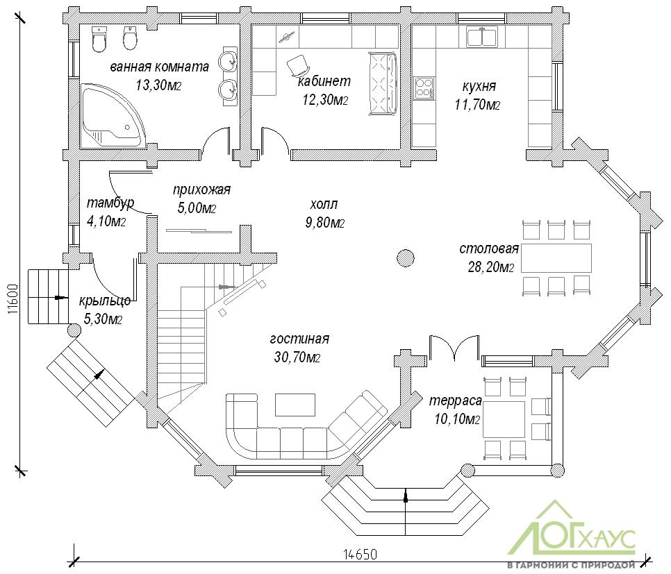 Планировка дома из бруса по проекту №264 (1этаж)