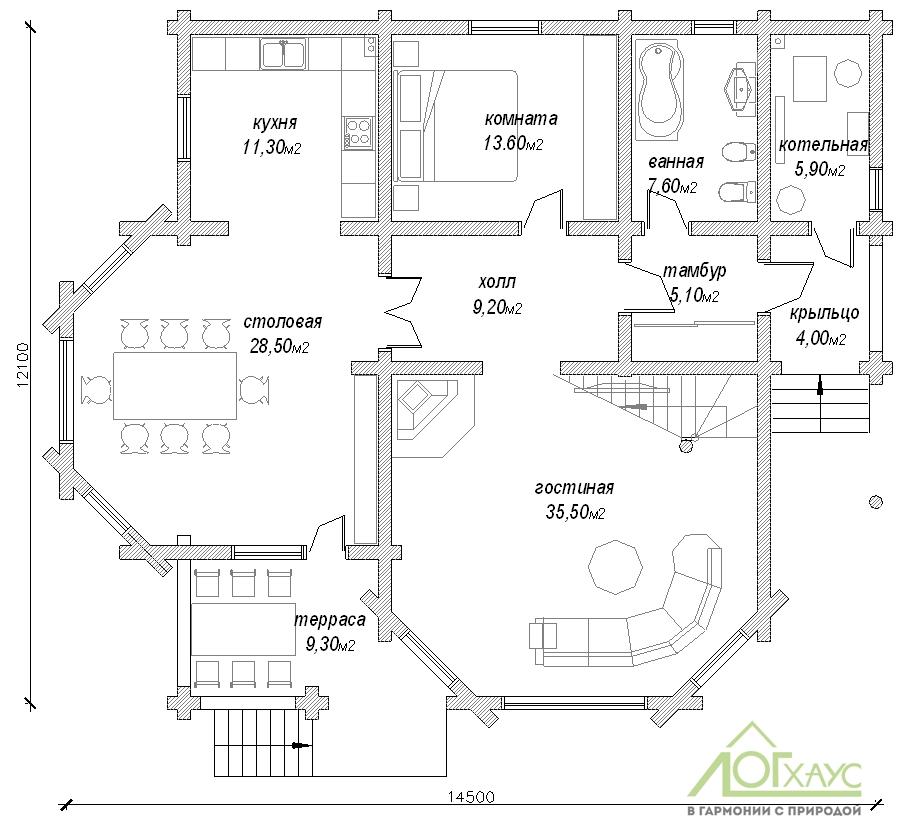 Планировка дома из бревна проекта 270 (1й этаж)