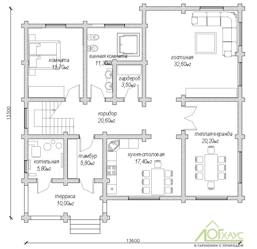 План дома из бревна с 4 спальнями