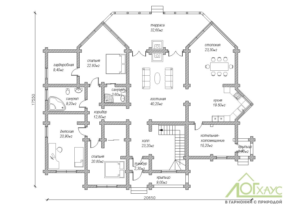 Планировка дома из ОЦБ с 5 спальнями №374