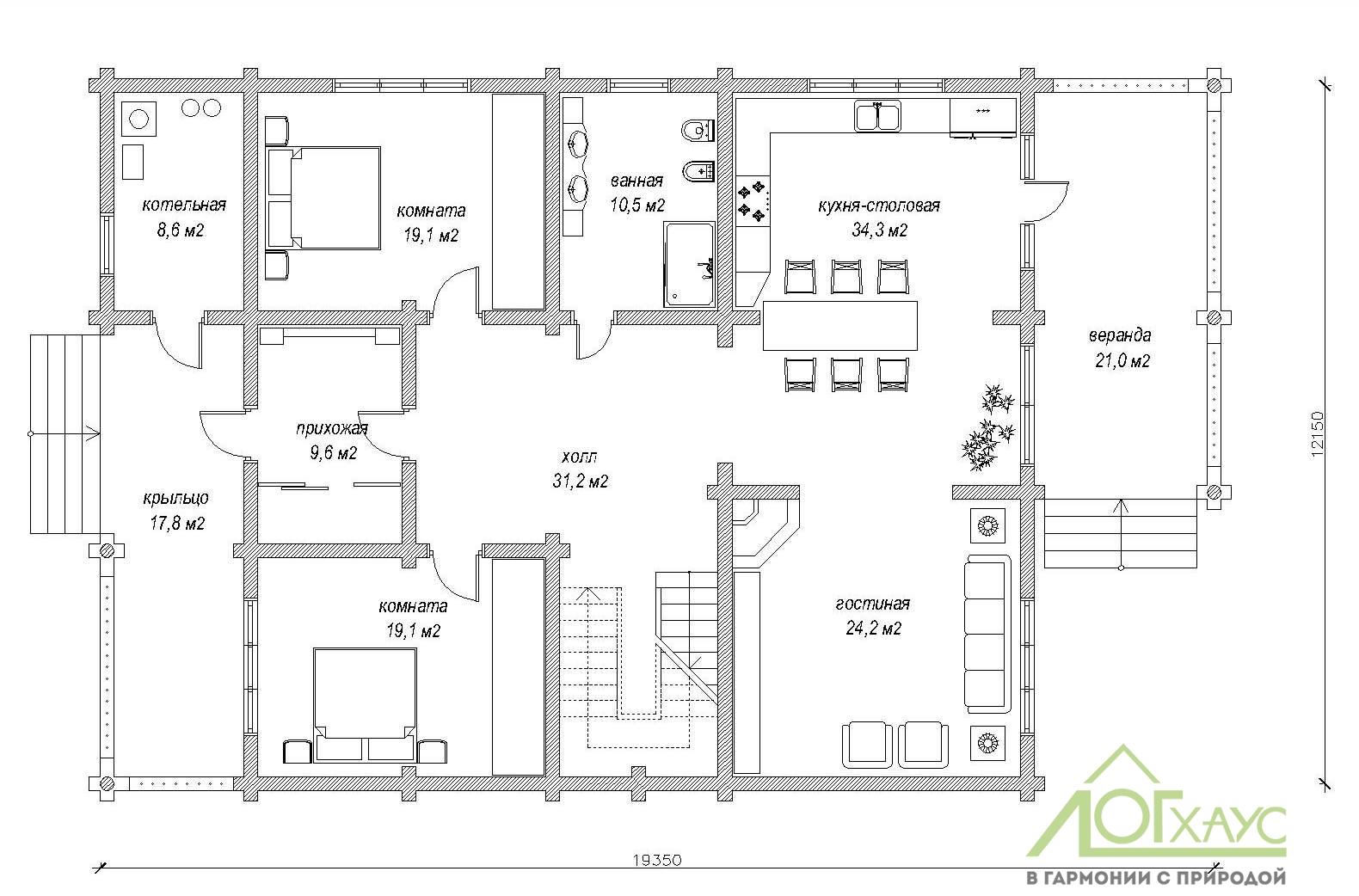 Первый этаж дома 400м2