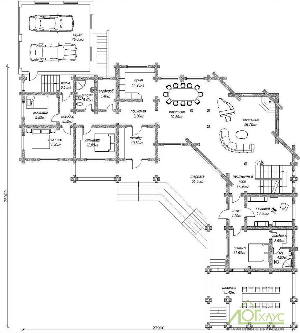 Первый этаж дома из бревна на 3 семьи с гаражом
