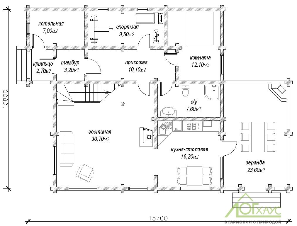Планировка дома из бревна по проекту №225 (1й этаж)