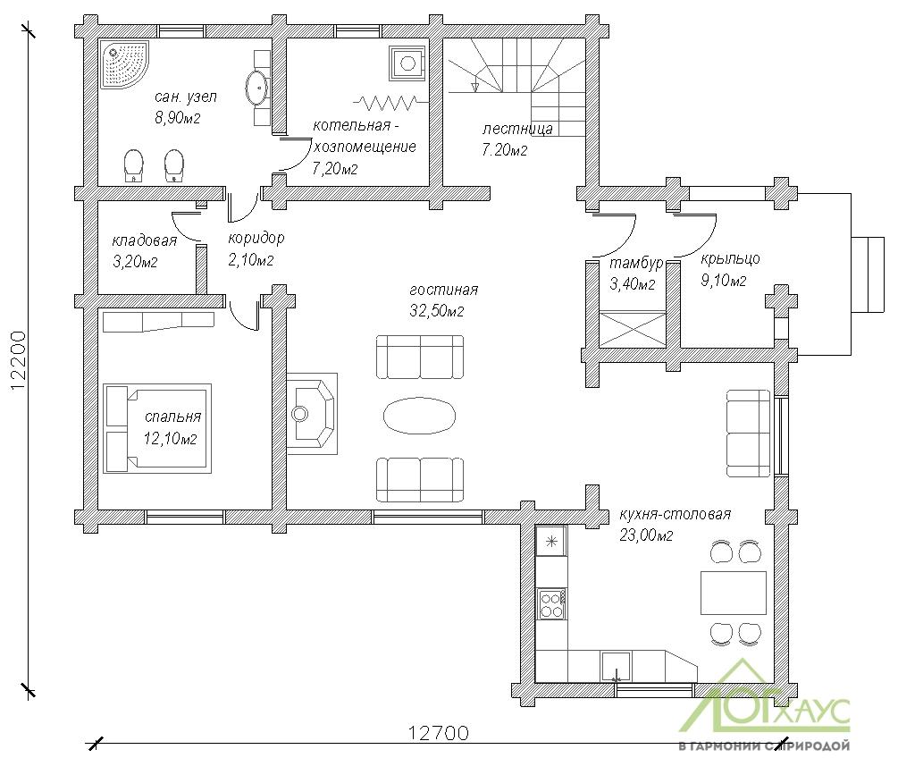 Планировка дома из бревна по проекту 228 (первый этаж)