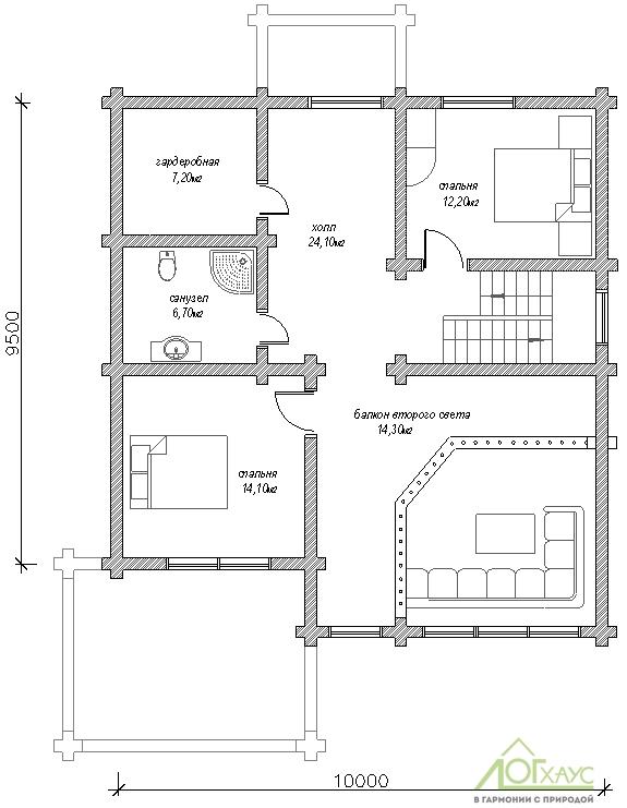Планировка дома из бревна по проекту 230 (первый этаж)