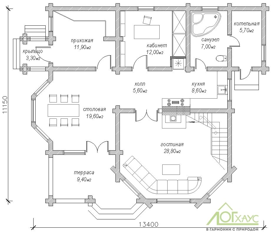 Планировка дома из ОЦБ 232 (1й этаж)