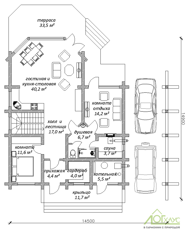 Планировка дома из ОЦБ №228 (1й этаж)