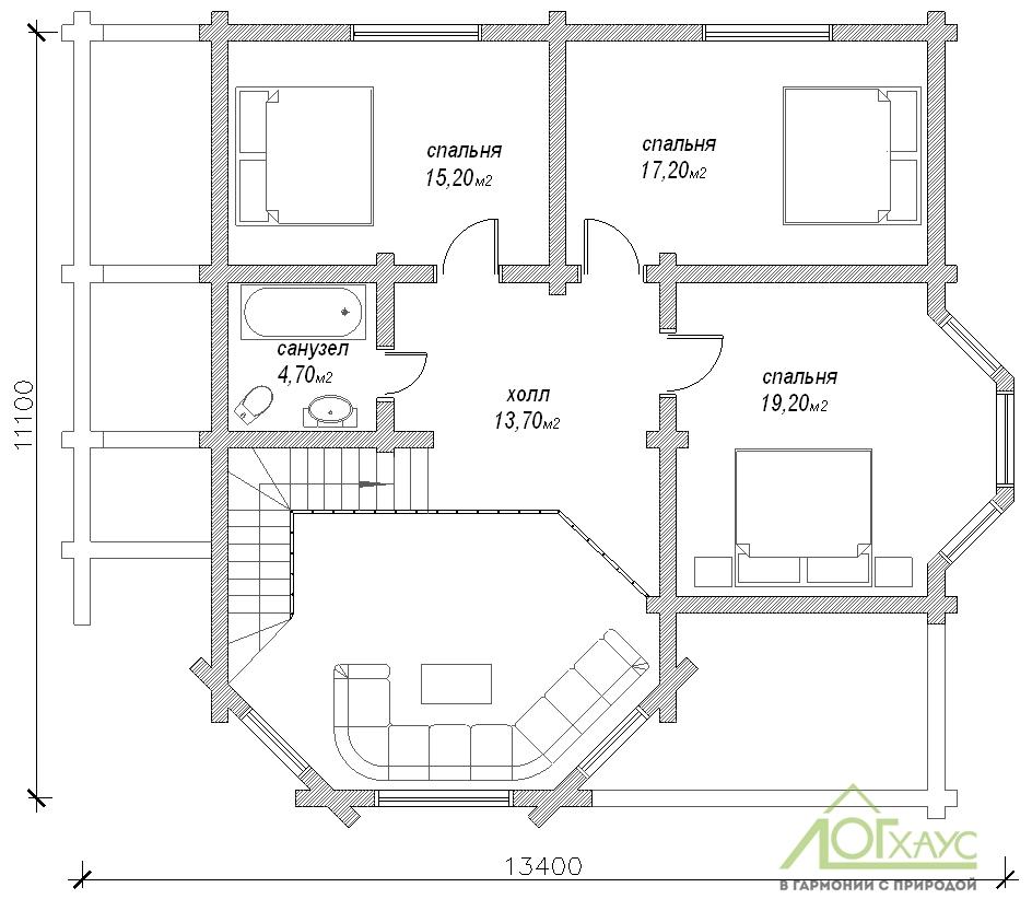Планировка дома из бревна по проекту 233 (2й этаж)
