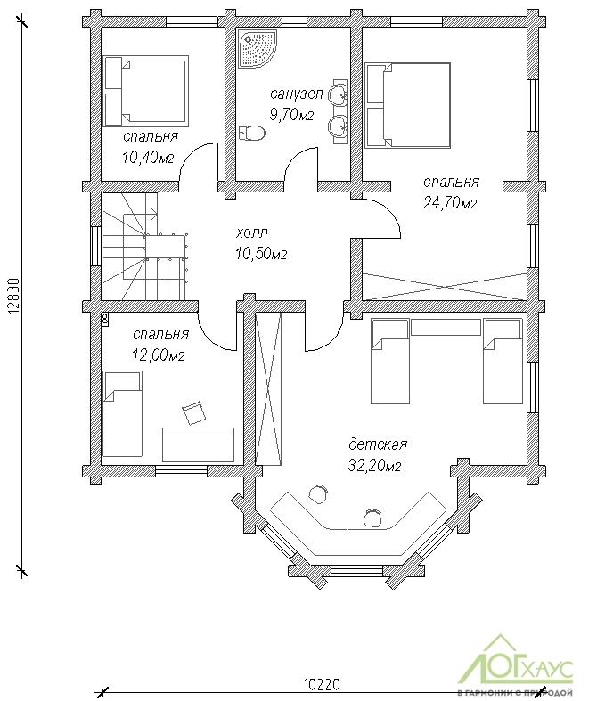 Планировка дома из ОЦБ №243 (2й этаж)